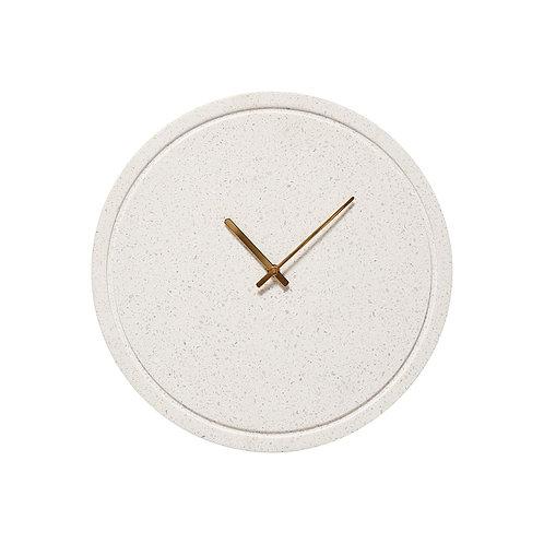 Laikrodis iš spausto akmens, baltas, žalvarinis