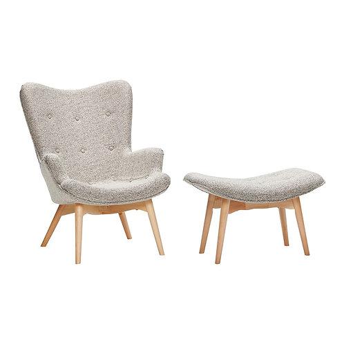 Kėdė su taburete, medžiaginė, medinė, pilka