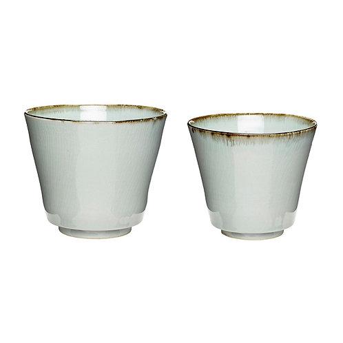 Vazonai, keramikiniai, gelsvi, balti 2vnt.