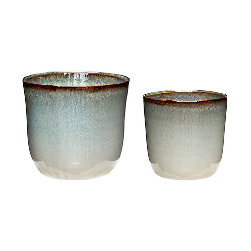 Vazonai, keramikiniai, gelsvi 2vnt.