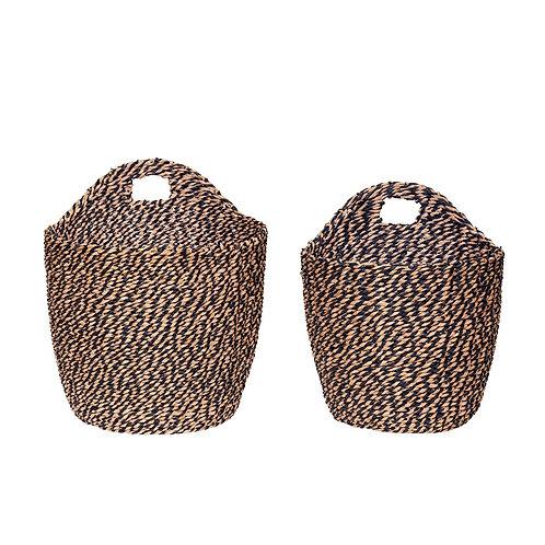 Krepšys, austas iš popieriaus virvės
