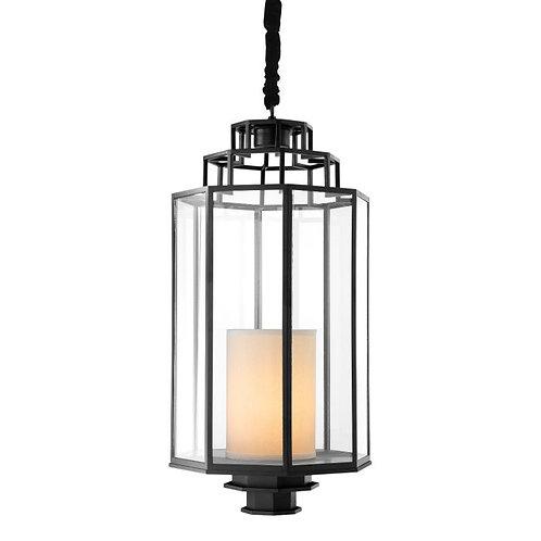 Pakabinamas šviestuvas, metalinis, stiklinis, juodas
