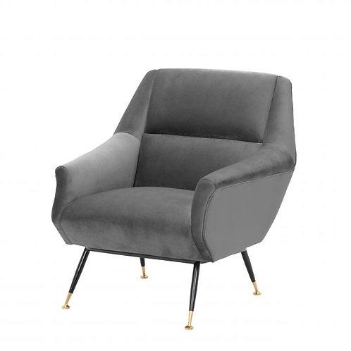 Kėdė. velvetinė, žalvarinė
