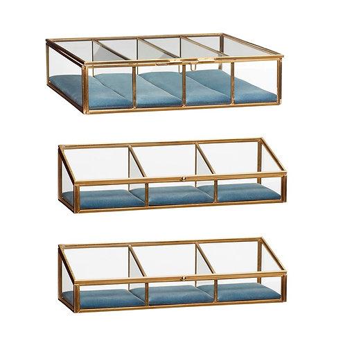 Stiklinės dėžutės, stiklinės, žalvarinės, mėlynos 3vnt.