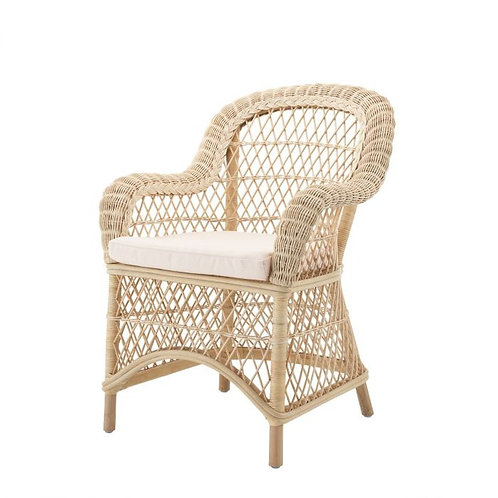 Kėdė iš rotango, medžiaginė