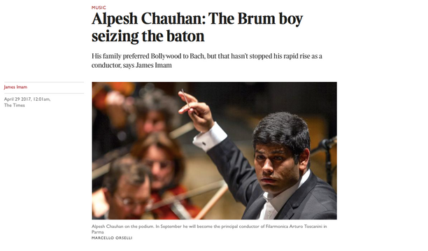 """The Brum boy seizing the baton"" - Alpesh featured in The Times"