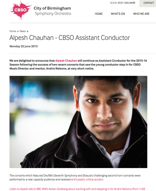 Alpesh to continue as Assistant Conductor at the CBSO