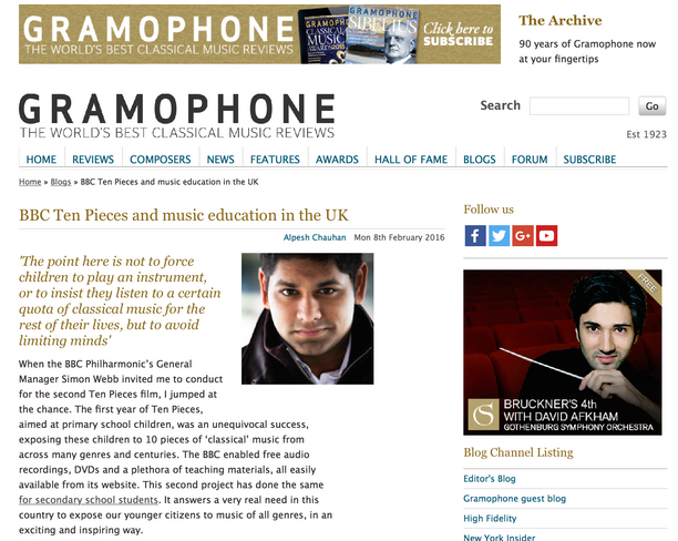 Alpesh discusses music education in Gramophone Blog