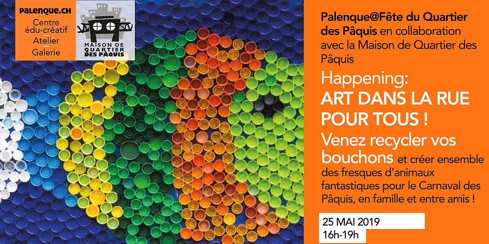 Fête du Quartier des Pâquis - Création de FRESQUES de Carnaval à partir de bouchons recyclés
