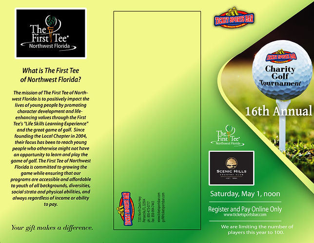 Charity Golf Tournament Brochure.  Click to visit online registration.  Call 850-473-0717 for assistance.