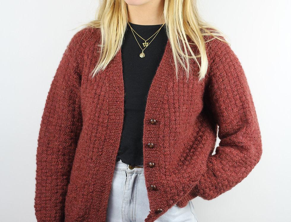 Burgundy Wool Cardigan