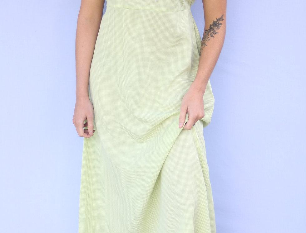 90's Green Gingham Dress