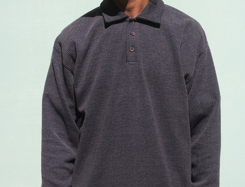 90's Long Sleeve Ribbed Polo