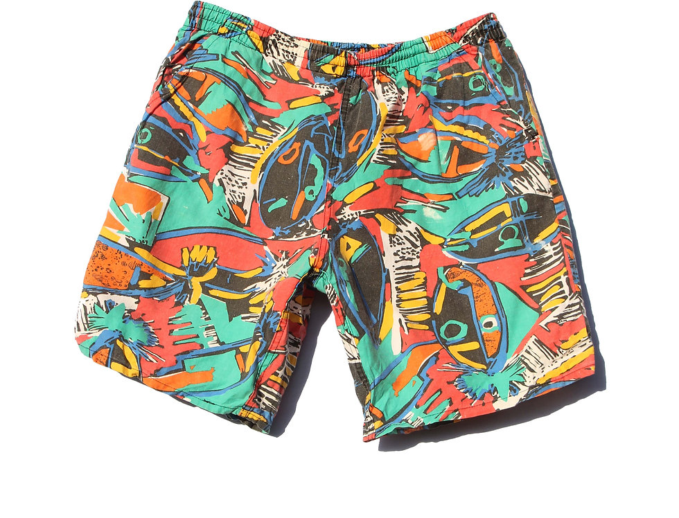 90's Colourful Faces Shorts