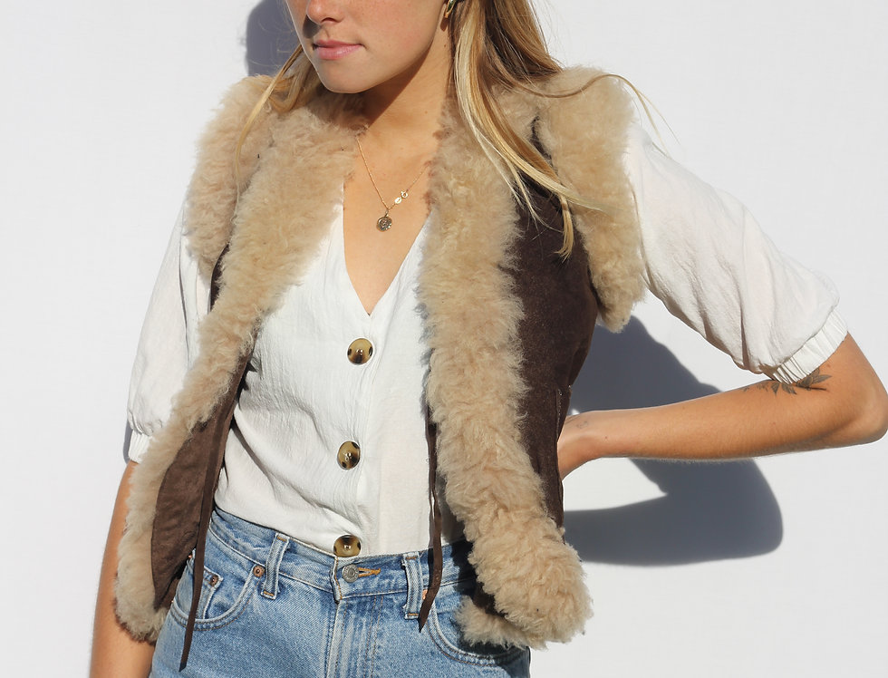 Leather/ Wool 70s Vest
