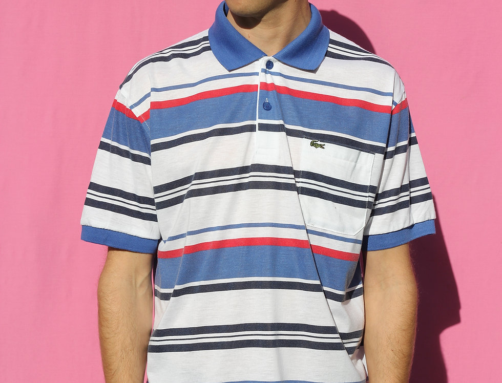 Blue/ Red Lacoste Polo