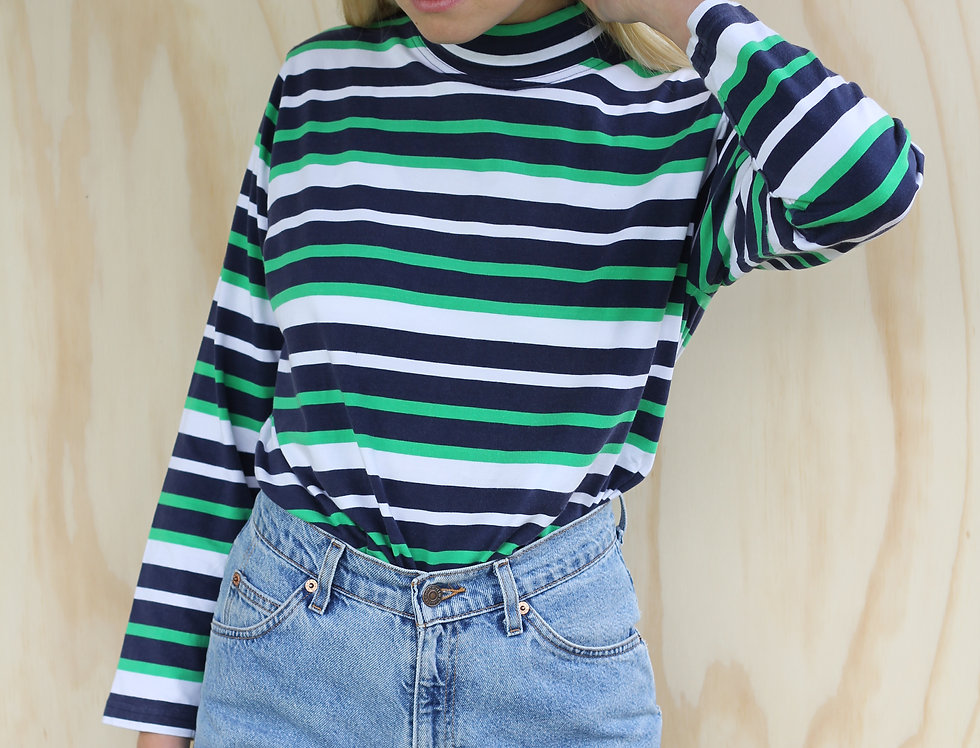 NZ Made Striped Turtle Neck