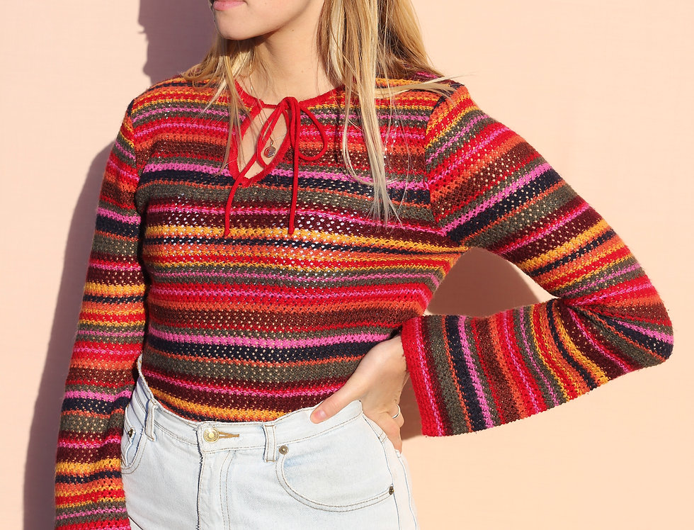 60's Rainbow Knit Flare Top