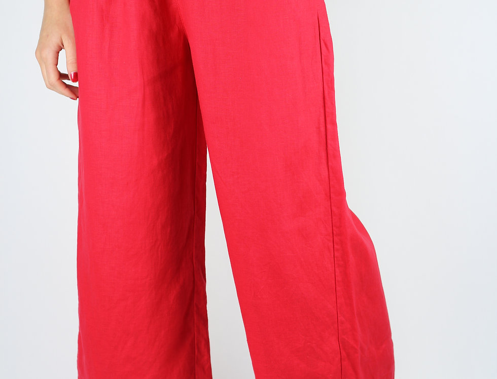 Linen Feel Red Pants