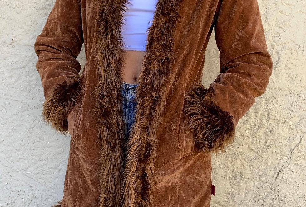 90's faux fur lined jacket