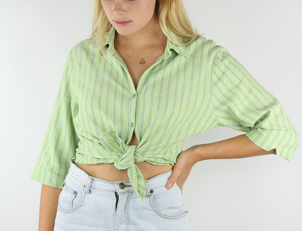 Vintage Green Striped Shirt