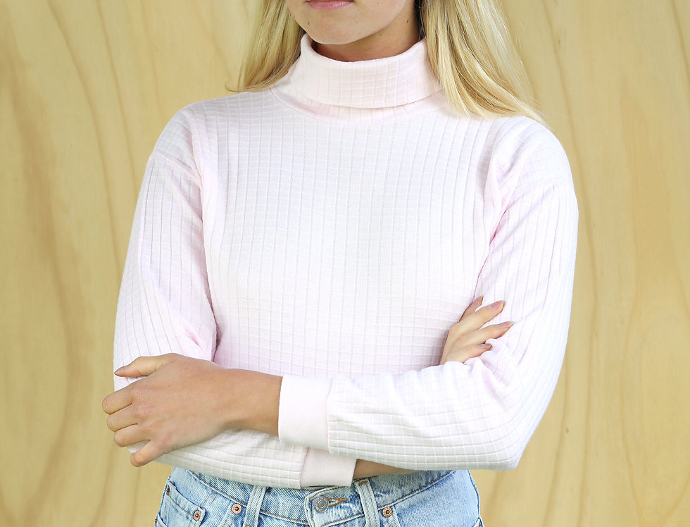 Pink Waffle Turtle Neck (Made in U.S.A)