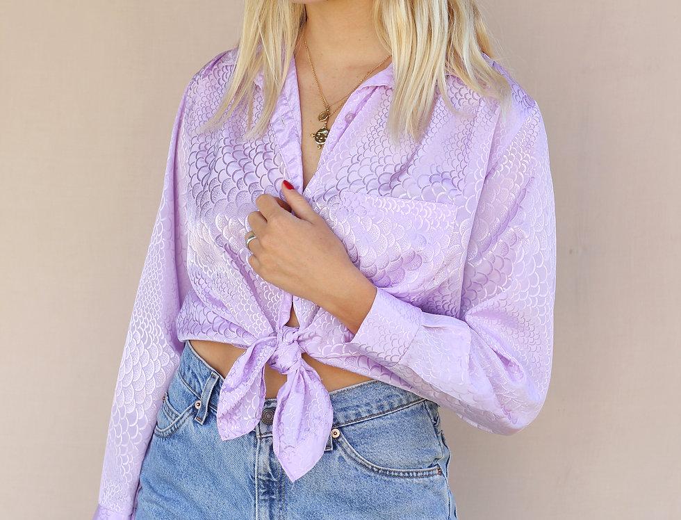 Vintage Lavender Silky Blouse