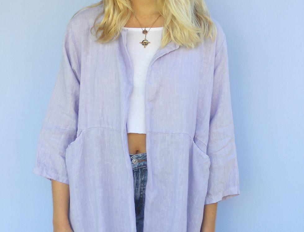 100% Linen Lavender Italian Made Shirt