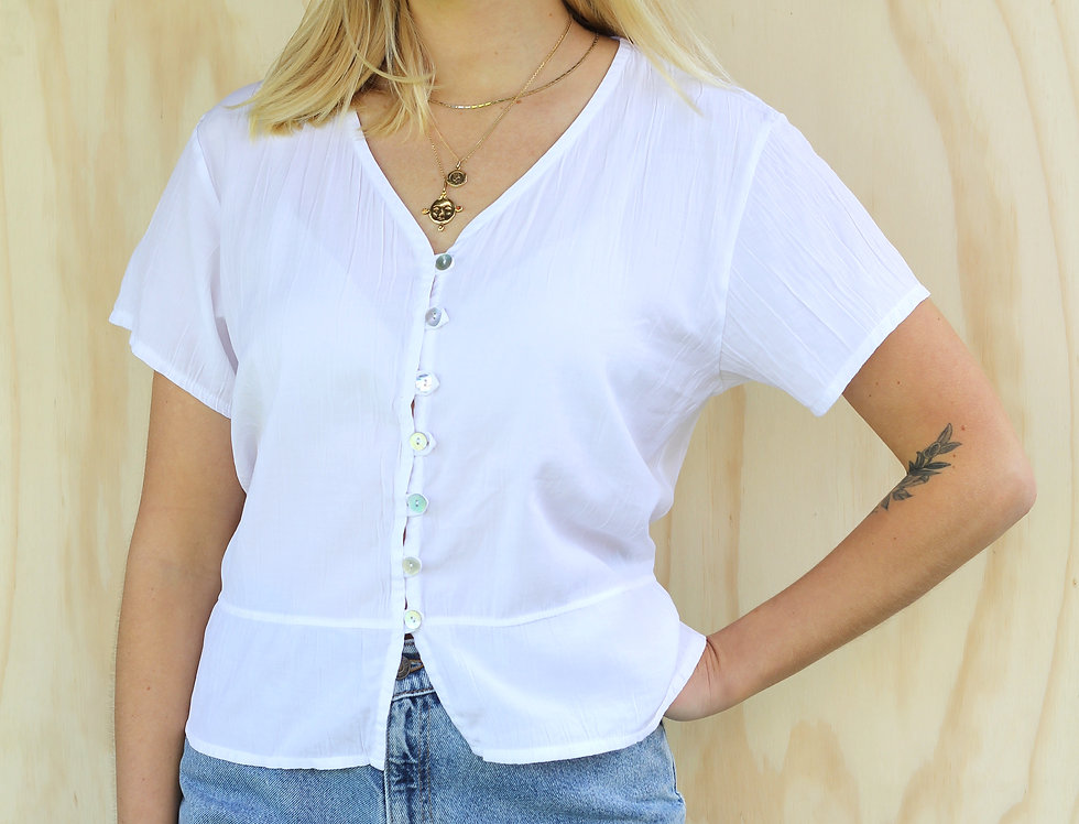 Vintage White Blouse (Made in NZ)