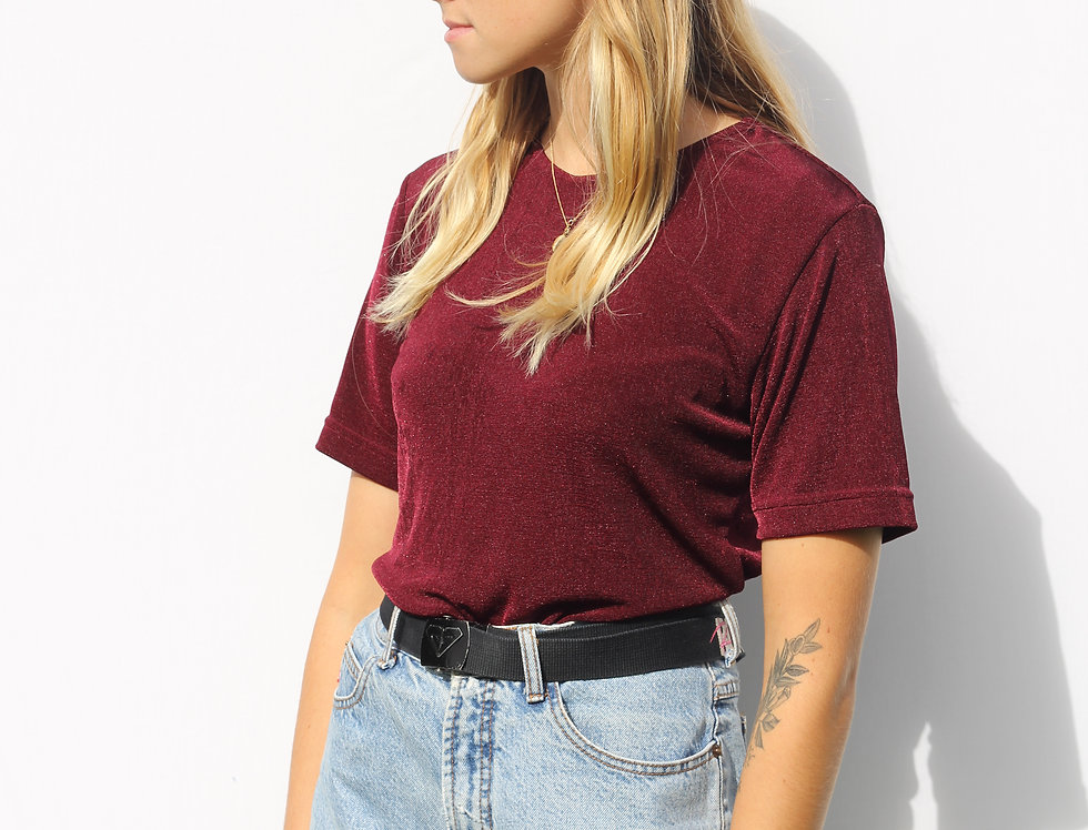 90s Maroon Shimmer Top