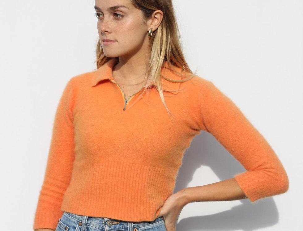 Fluffy Orange 90's Zip Up