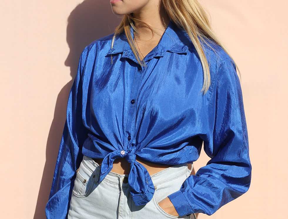 Blue Satin Shirt
