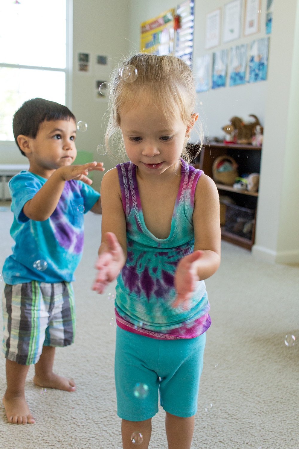Popping bubbles at Blue Sky Daycare!