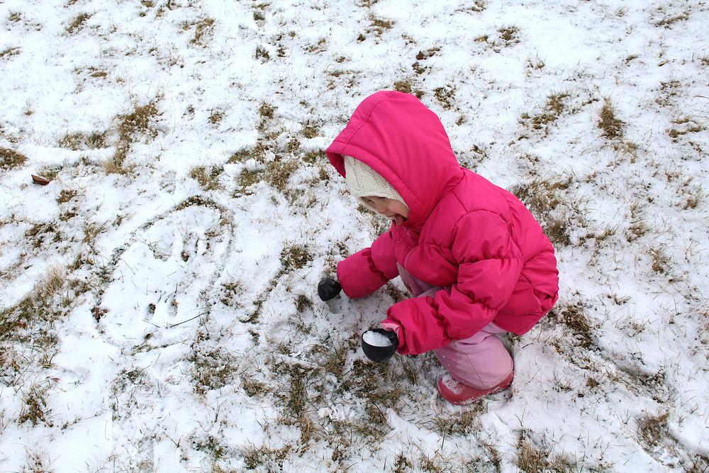 Blue Sky Daycare home daycare children inpecting rabbit tracks