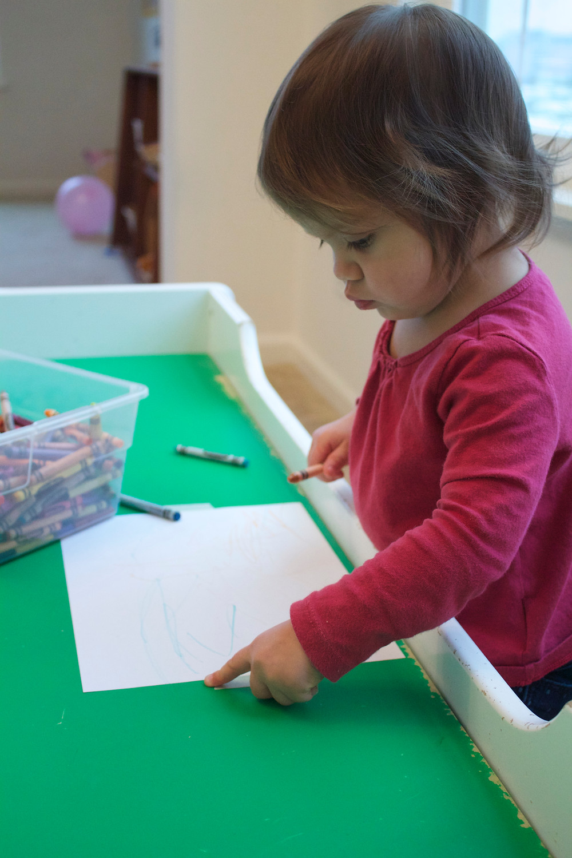 Blue SKy Daycare child doing process art