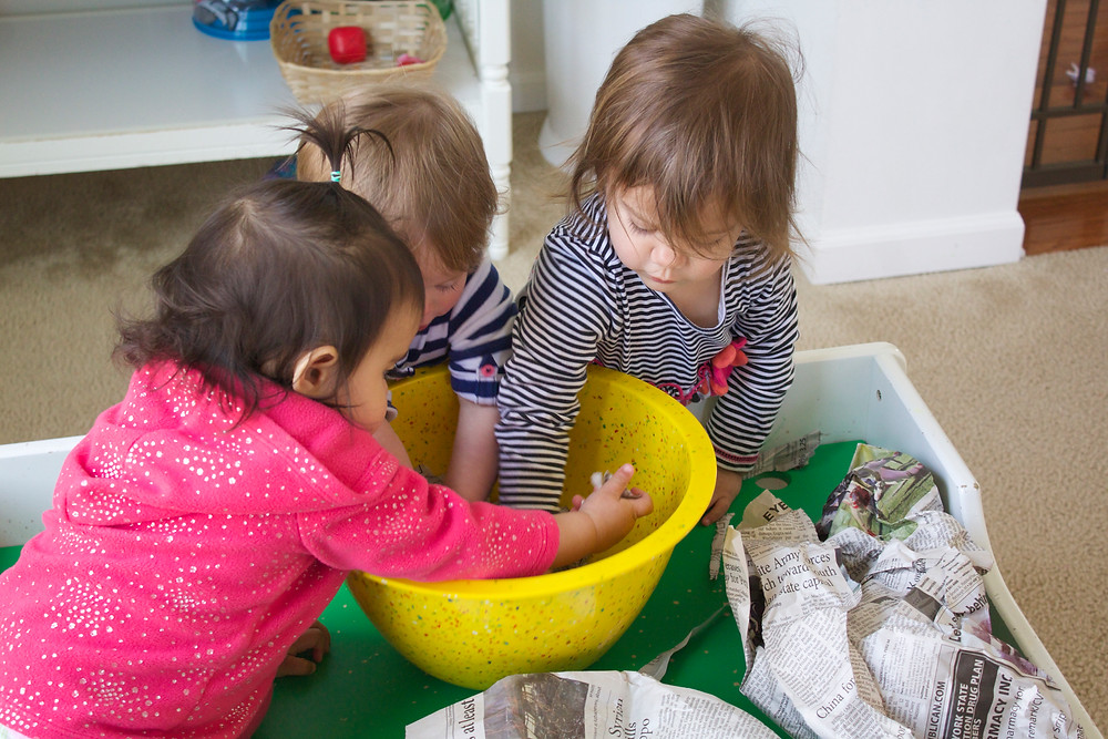 "Blue Sky Daycare home daycare children making seed ""bombs"""