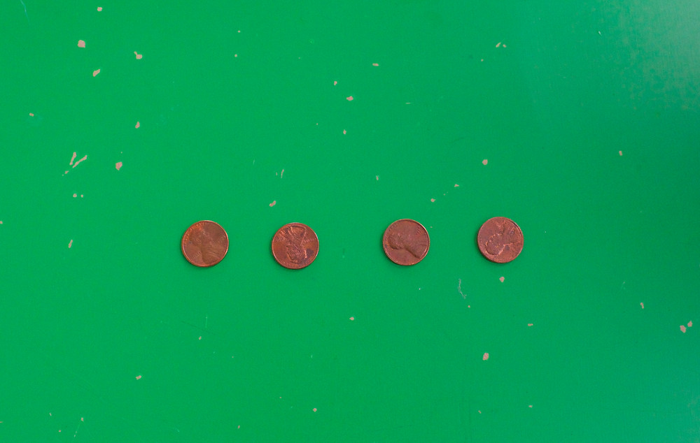 Pennies before our cleaning experiment at Blue Sky Daycare