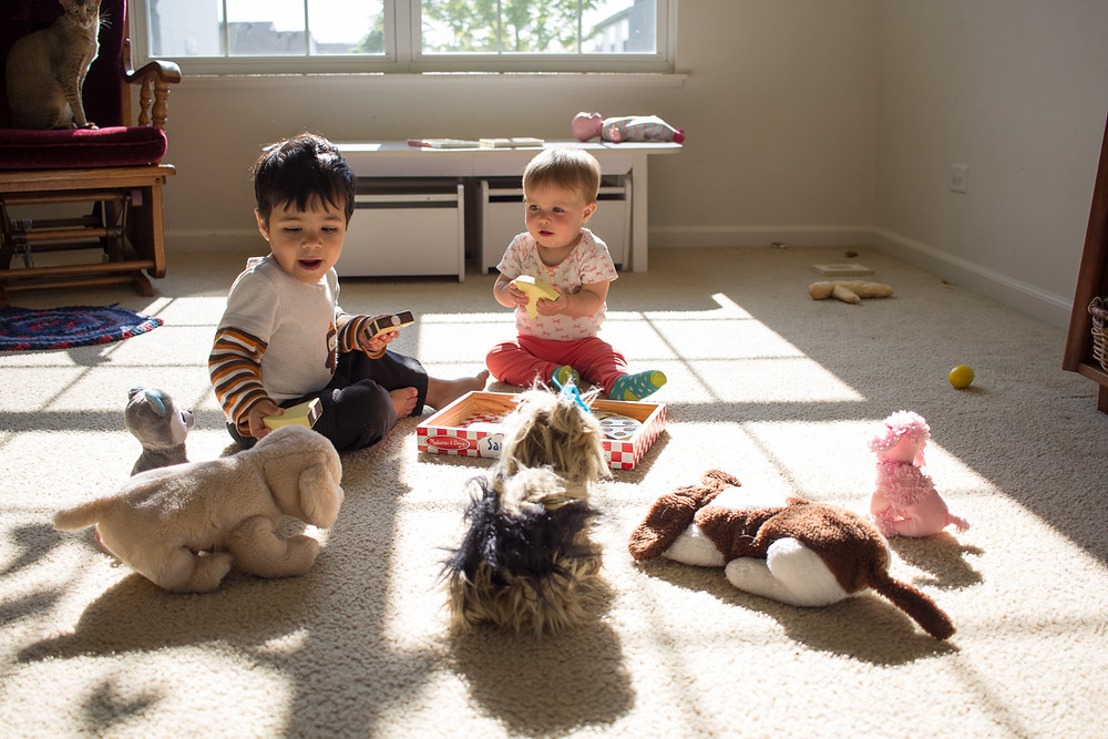 How about some pizza, Fido?  Some imaginative play from the Blue Sky Daycare children