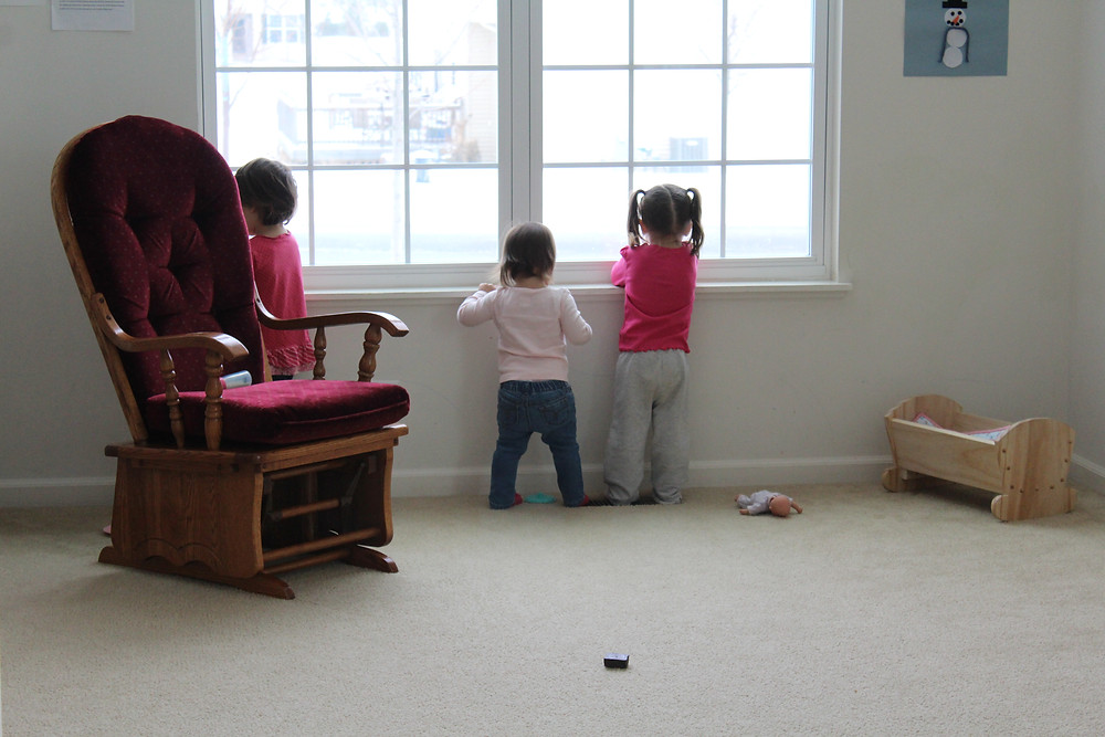 Blue Sky Daycare home daycare children getting ready for the Great Backyard Bird Count