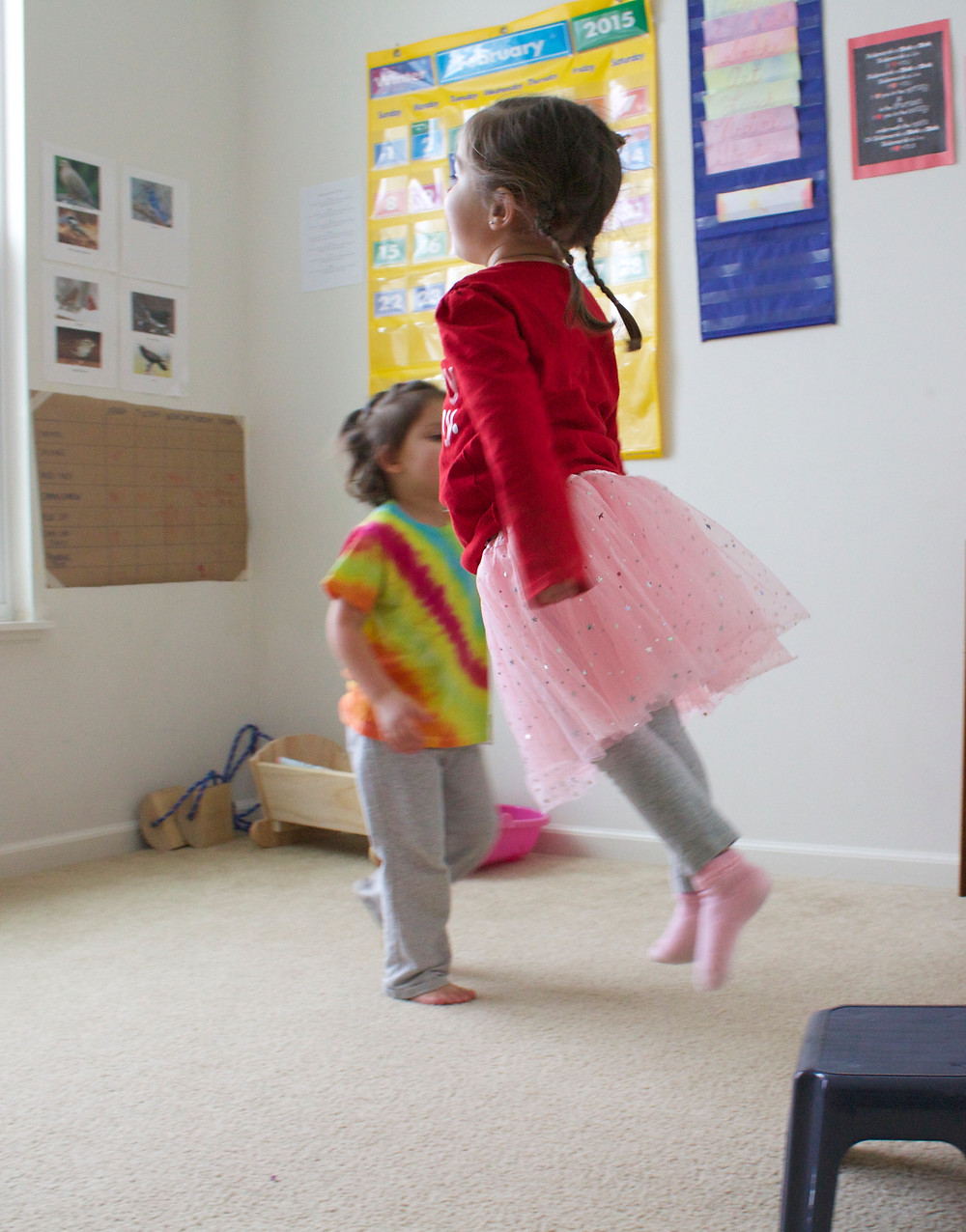 Blue Sky Daycare home daycare children doing movement activity