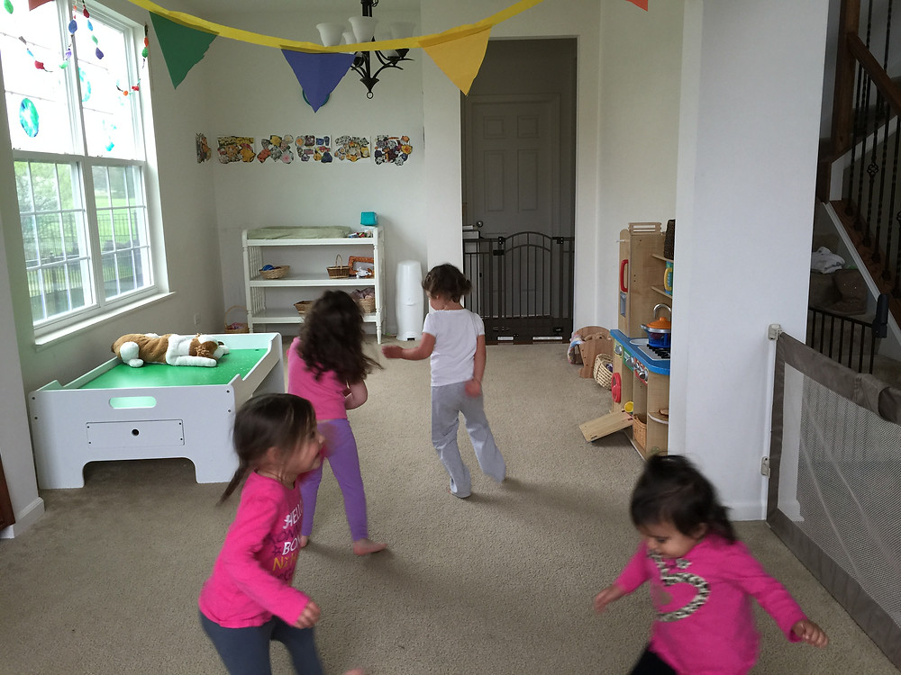 Dancing to mariachi music for Cinco de Mayo at Blue Sky Daycare home daycare