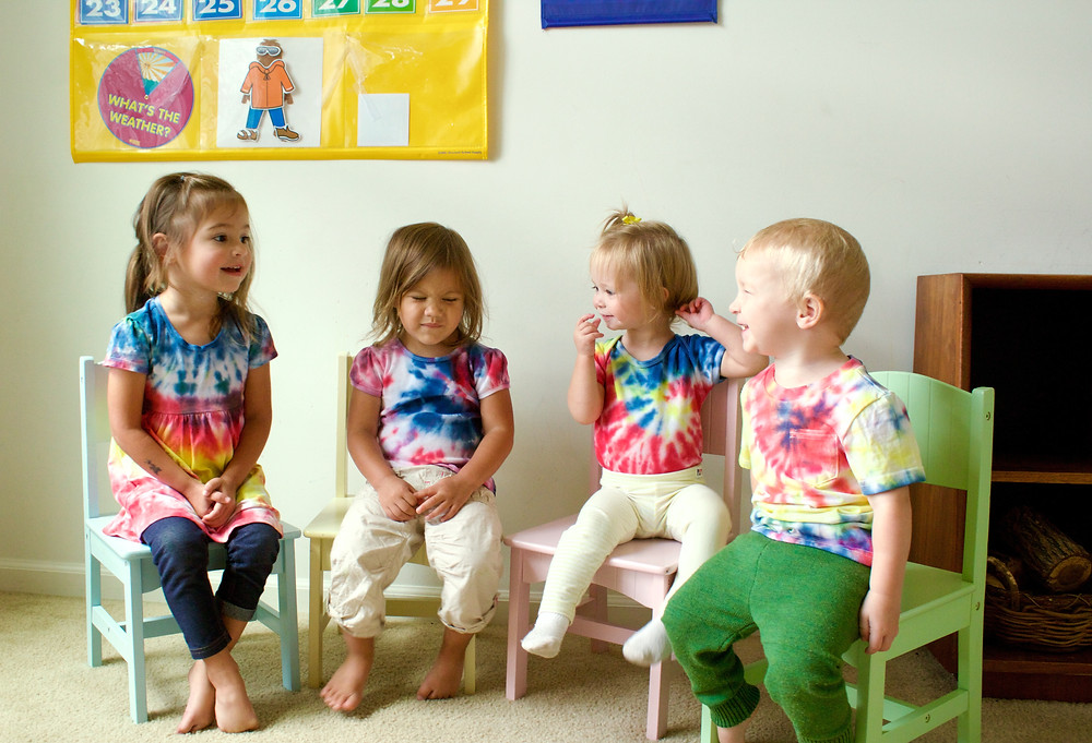Blue Sky Daycare home daycare children wear their self-created tie-dye clothes