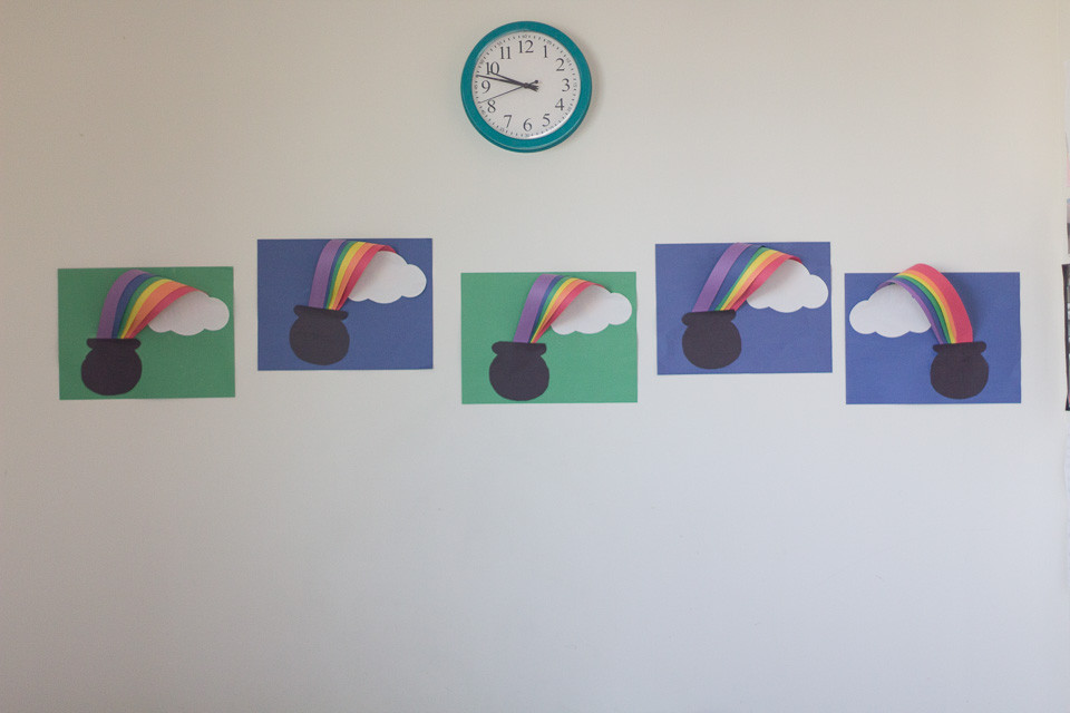 St. Patrick's Day artwork created by the Blue Sky Daycare children