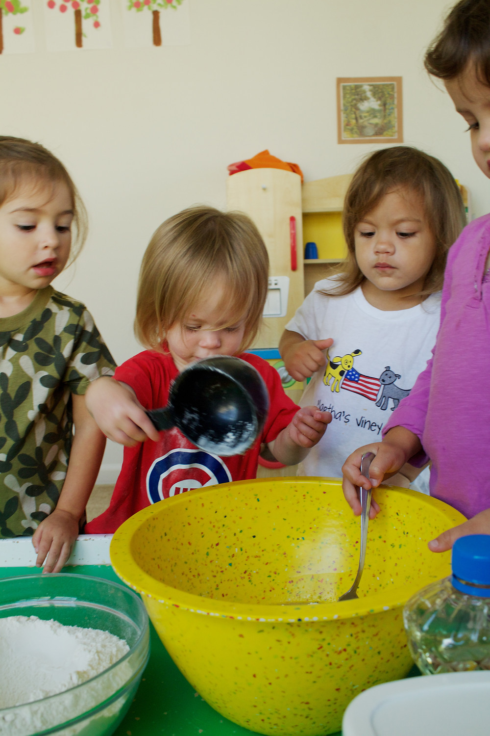 Blue Sky Daycare home daycare children make bread from scratch
