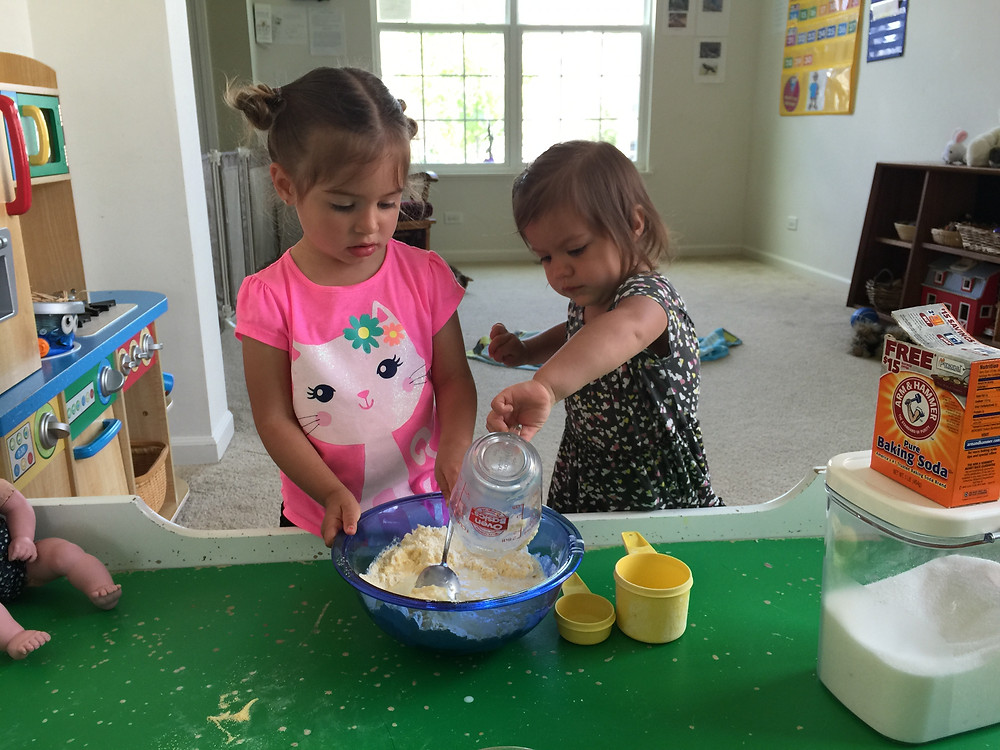 Cooking cornbread at Blue Sky Daycare home daycare