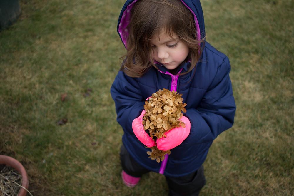 A Blue Sky Daycare child finds a preserved blossom.