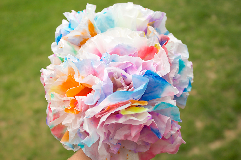 Coffee filter flowers made by Blue Sky Daycare home daycare children