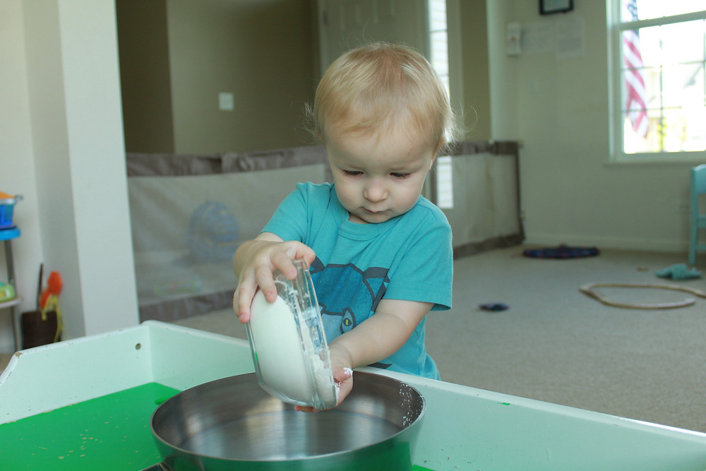 Blue Sky Daycare home daycare child making baking soda play dough