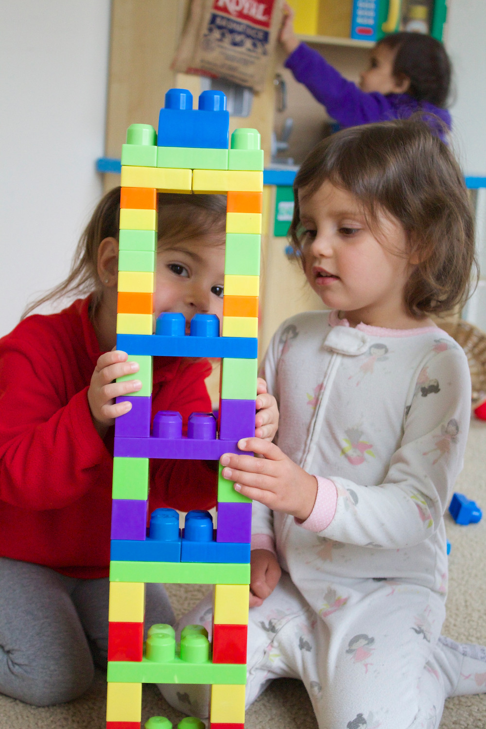 Block play and patterning fun at Blue Sky Daycare home daycare