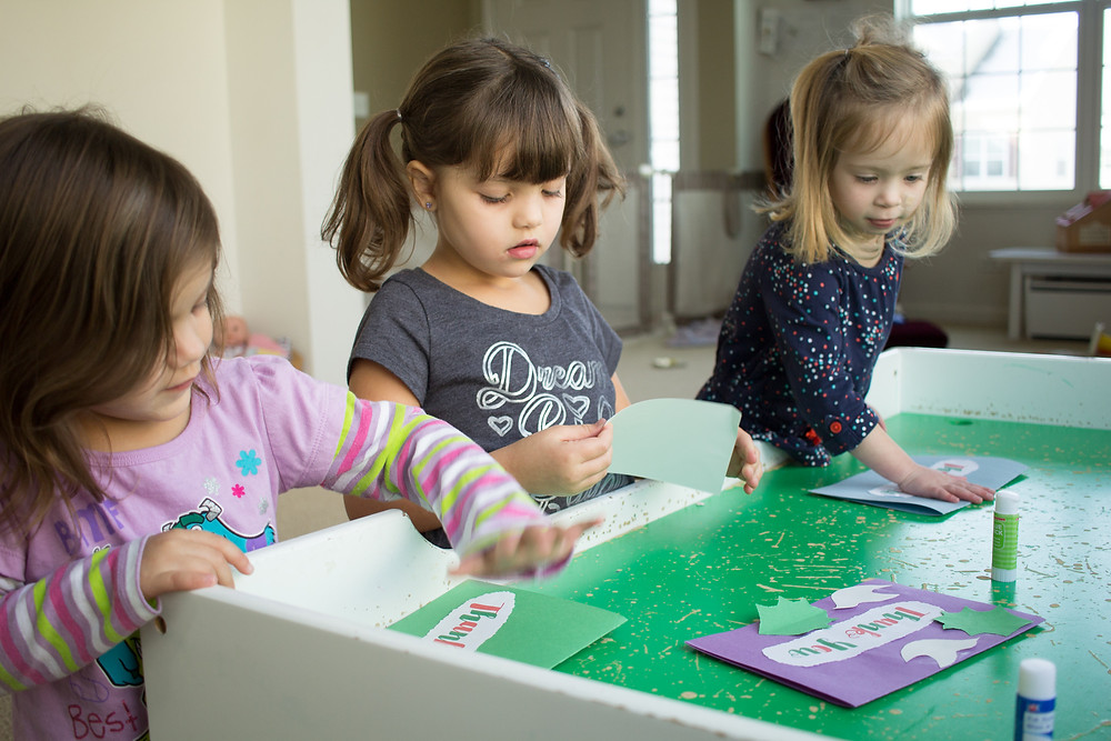 """Blue Sky Daycare kids make cards for military personnel during """"Random Acts of Kindness"""" campaign"""